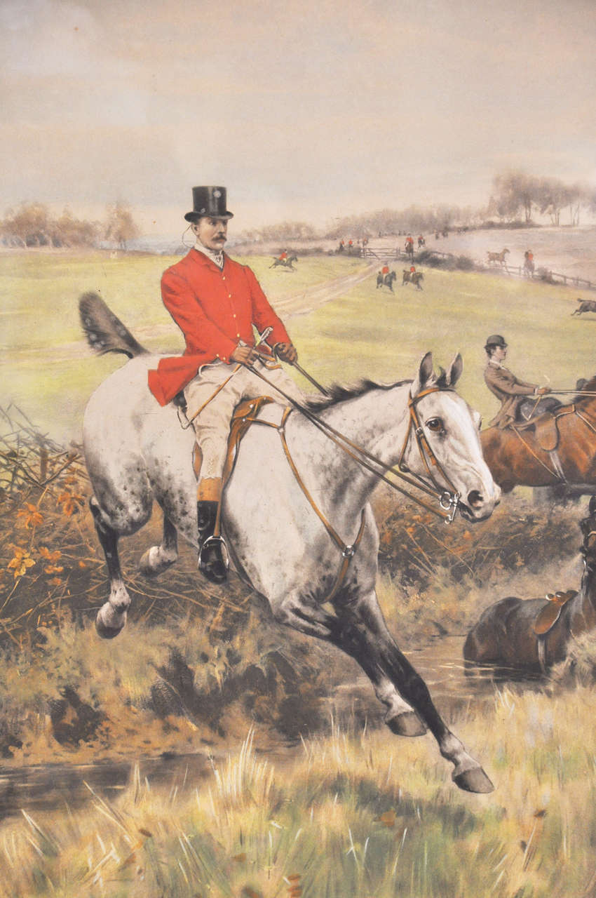An extraordinary detailed pair of signed lithographs signed, and numbered in upper right hand corner. 189 by C. Klackner, New York. The original artist, Thomas Blinks, was famous for his colorful, intricate detailed hunt scenes that exhibited his