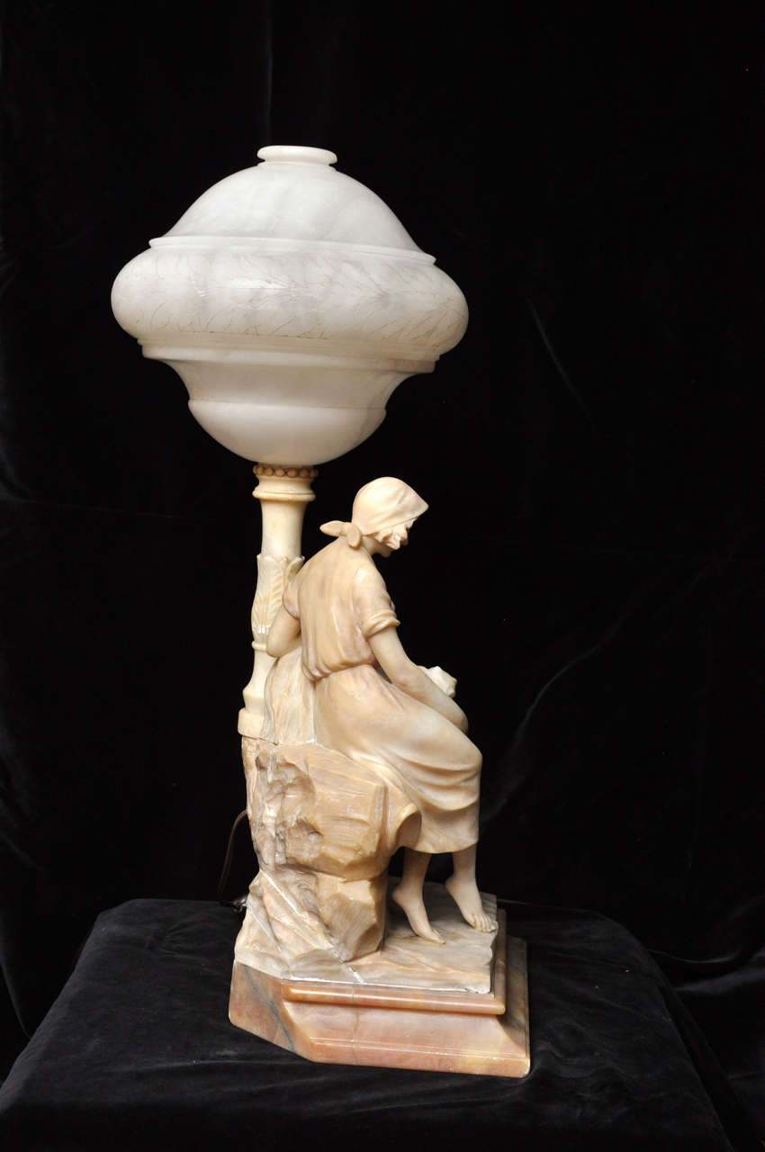 Neoclassical Alabaster Sculpture Lamp At 1stdibs