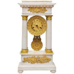 French Signed Alabaster and Gilt Bronze Portico Clock