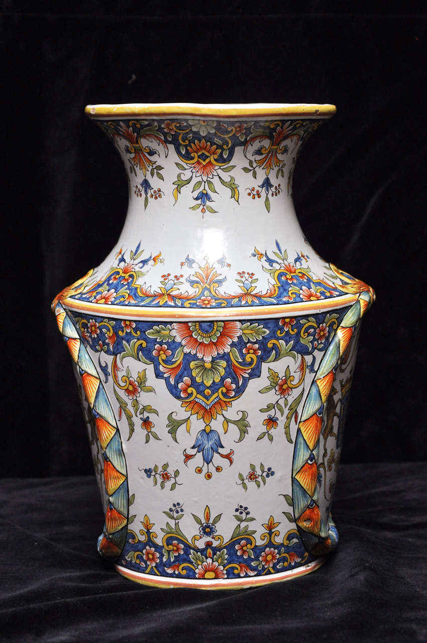 Country Pair of Antique Rouen Vases For Sale