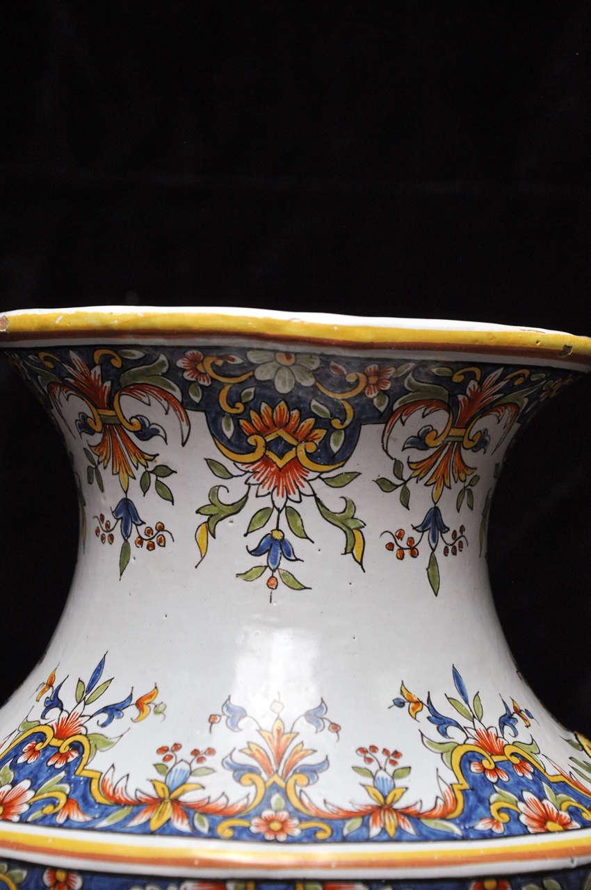 Porcelain Pair of Antique Rouen Vases For Sale