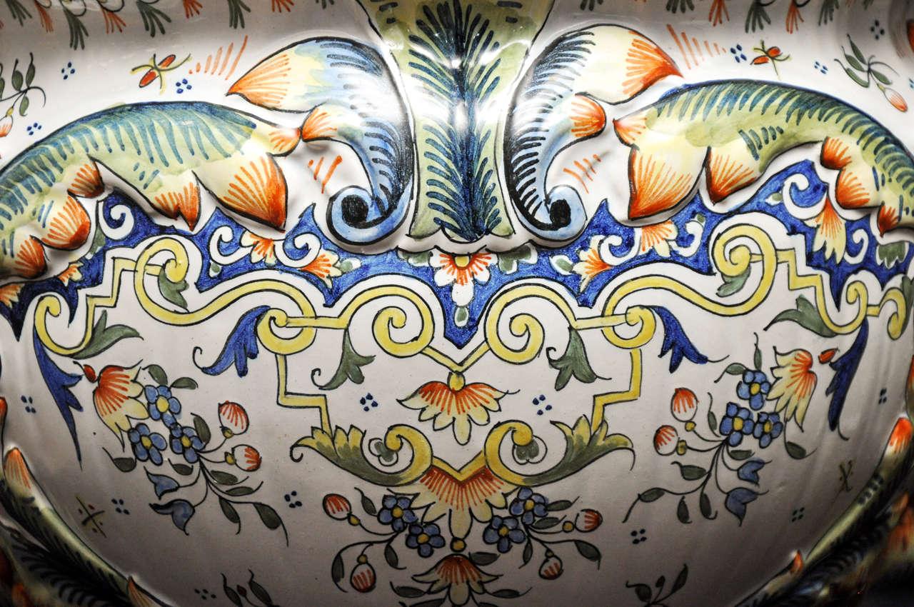 Porcelain Pair of Rouen Jardinieres For Sale