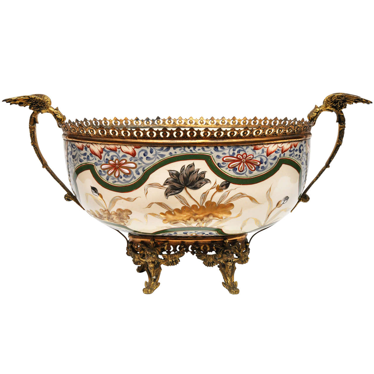 French Antique Porcelain and Gilt Bronze Center Bowl For Sale