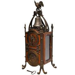 French Mahogany and Brass Mantel Clock