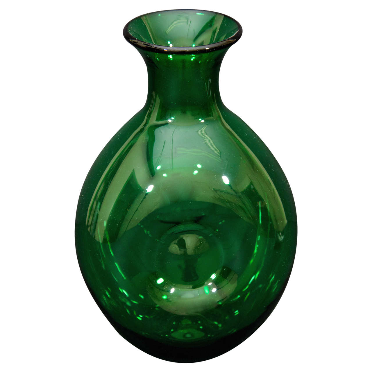Green Glass Vase By Quot Blenko Quot At 1stdibs