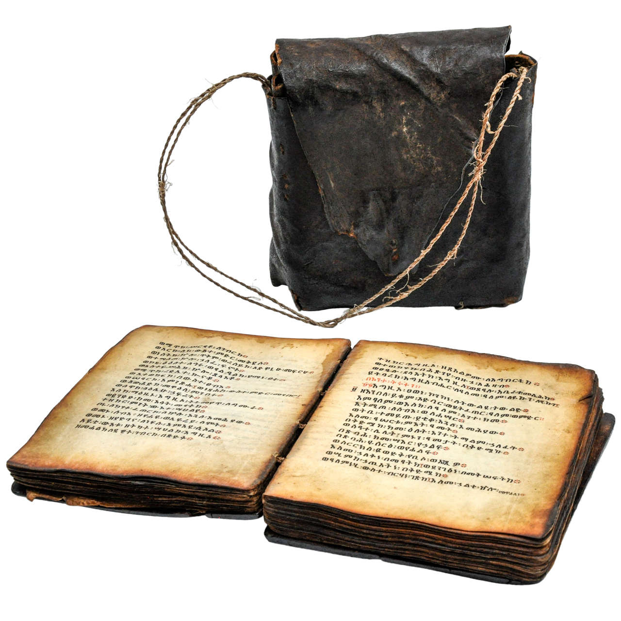 19th Century Coptic Bible in Wood with Leather Case