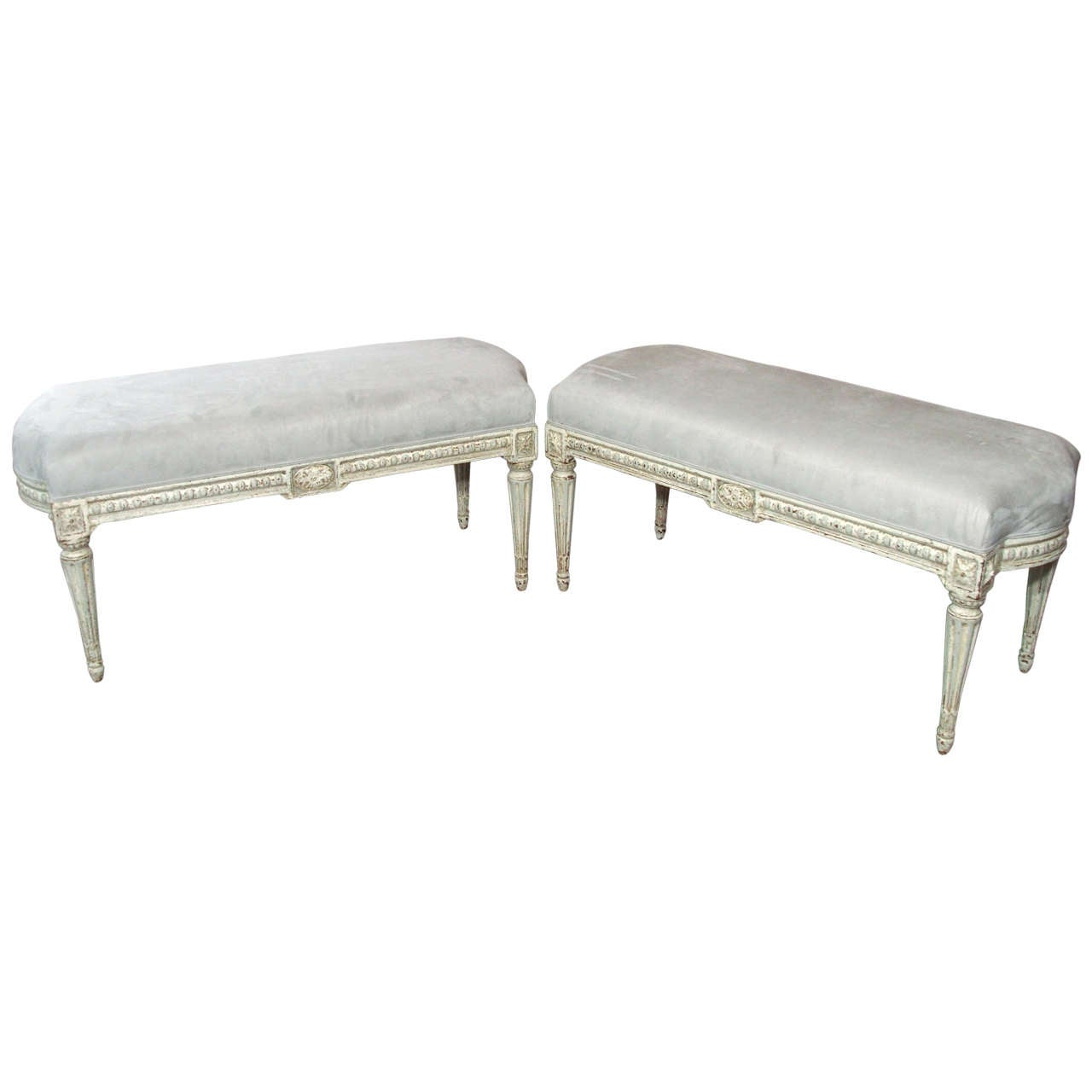 Pair Of Antique French Painted And Upholstered Benches At 1stdibs