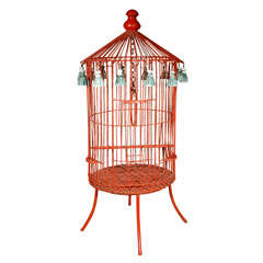 Tony Duquette Floor Bird Cage in Crimson Red with Plaster Tassels