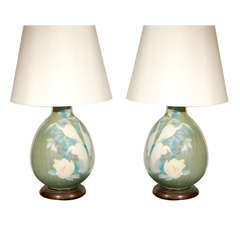 Pair of Hand-Painted Crane Table Lamps