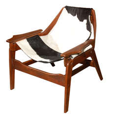 Rare Jerry Johnson cow hide sling chair