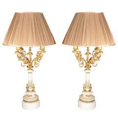 19th c Louis XVI marble candlabrum lamps