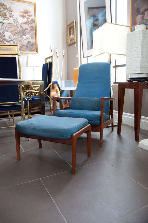 Pair danish modern armchair and ottoman by dux at 1stdibs for Danish modern la
