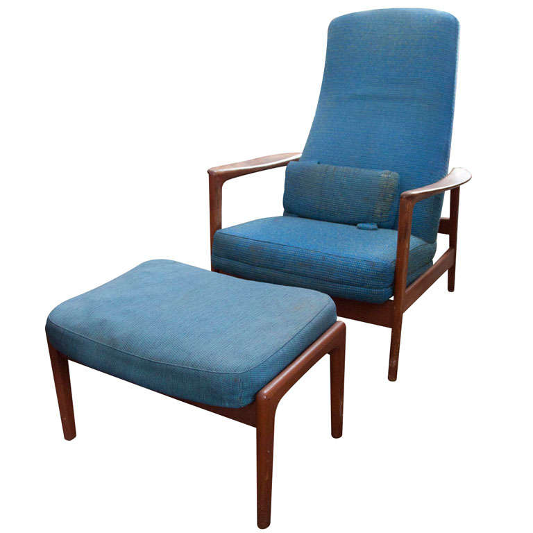 Pair Danish Modern Armchair And Ottoman By Dux For