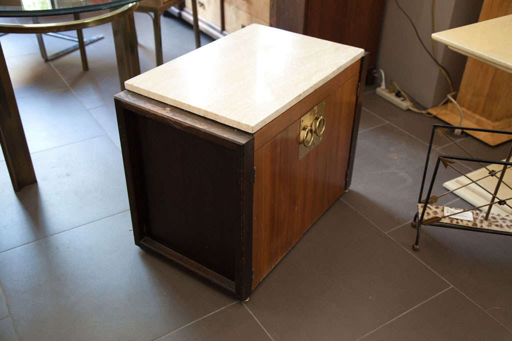 Wood Pair of End Tables with Marble Tops For Sale
