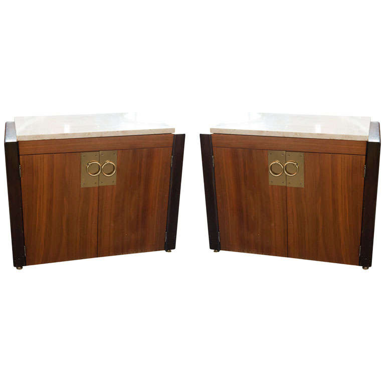 Pair of End Tables with Marble Tops For Sale