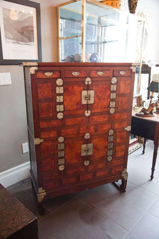Antique Asian Iron gated ,cedar wood Tea cabinet.Inlaid with satin elm wood. - Antique Asian Iron Gated ,cedar Wood Tea Cabinet At 1stdibs