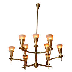 Bronze Nine-arm Chandelier with Amber Shades, Austria 1925
