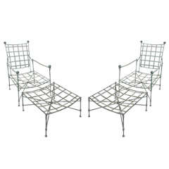 One Salterini lounge  chair and ottoman in metal