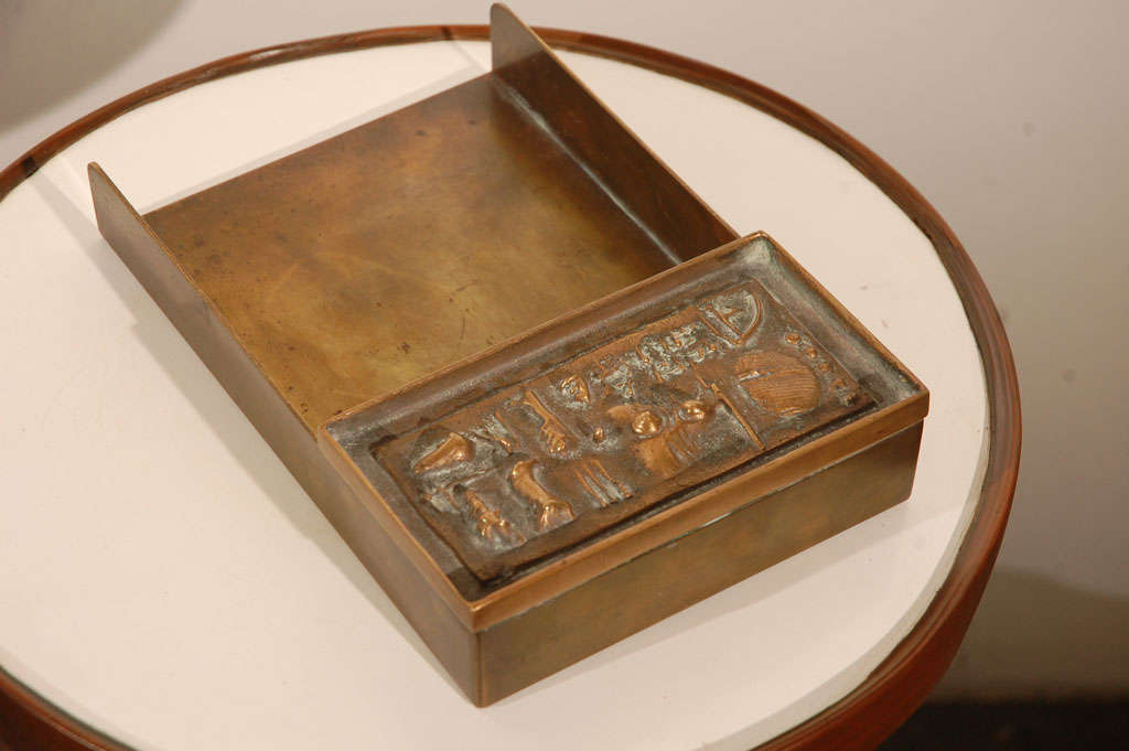 This is a rare bronze made for the very well known artist Arnaldo Pomodoro. This is one of the pieces of the desk set, entitled ,