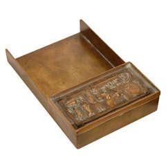 """Arnaldo Pomodoro Unsigned Rare Letter Tray """"Il Sestante""""bronze"""