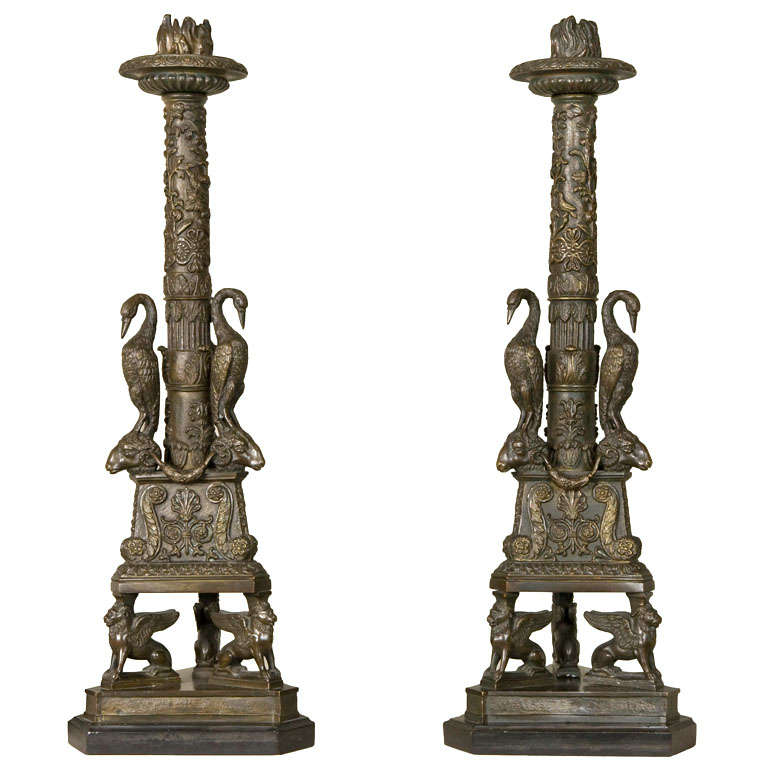 Pair of Gilt Bronze Candlesticks For Sale