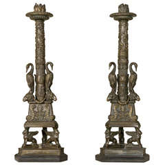 Pair of Gilt Bronze Candlesticks