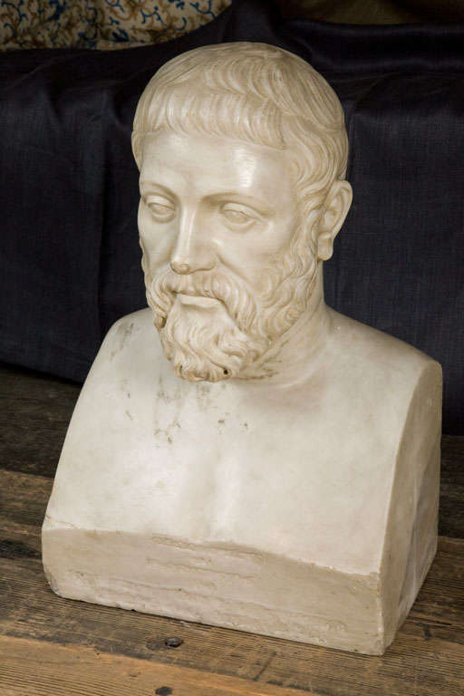 Carved Marble Bust Sculpture of a Scholar For Sale 1