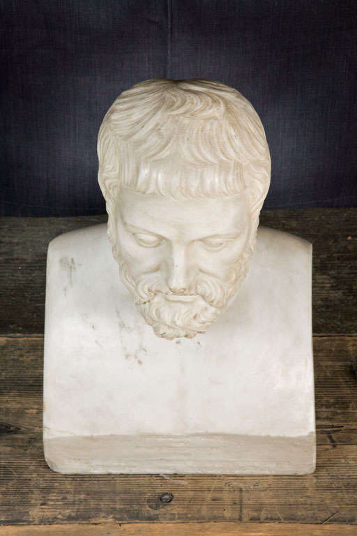 Carved Marble Bust Sculpture of a Scholar In Good Condition For Sale In London, GB