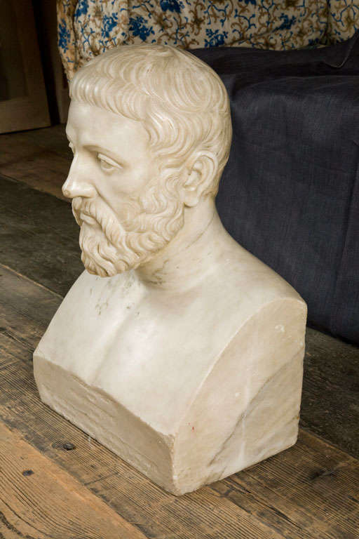 19th Century Carved Marble Bust Sculpture of a Scholar For Sale