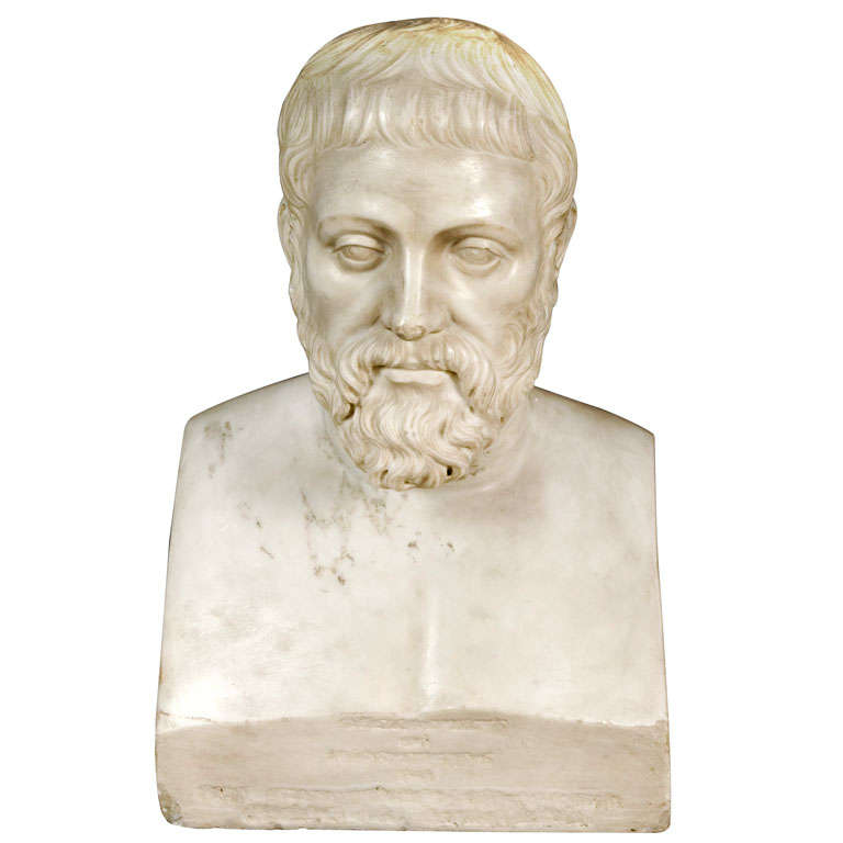 Carved Marble Bust Sculpture of a Scholar For Sale