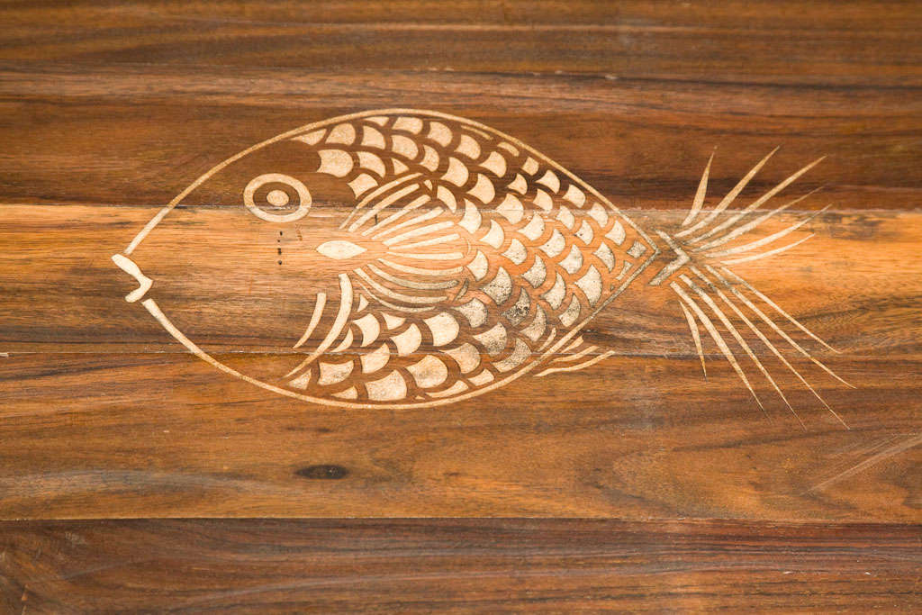 Mid-Century Rustic Brazilian Rosewood Coffee Table with Incised Fish 3