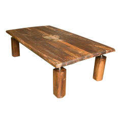 Mid-Century Rustic Brazilian Rosewood Coffee Table with Incised Fish