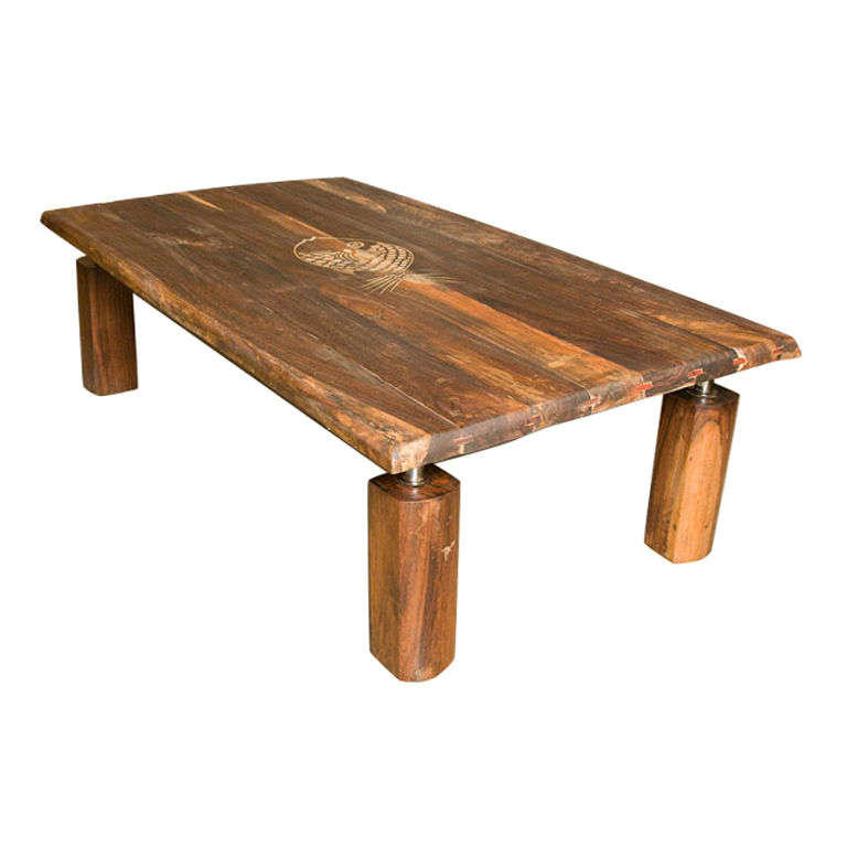 American Mid Century Rustic Brazilian Rosewood Coffee Table With Incised Fish For