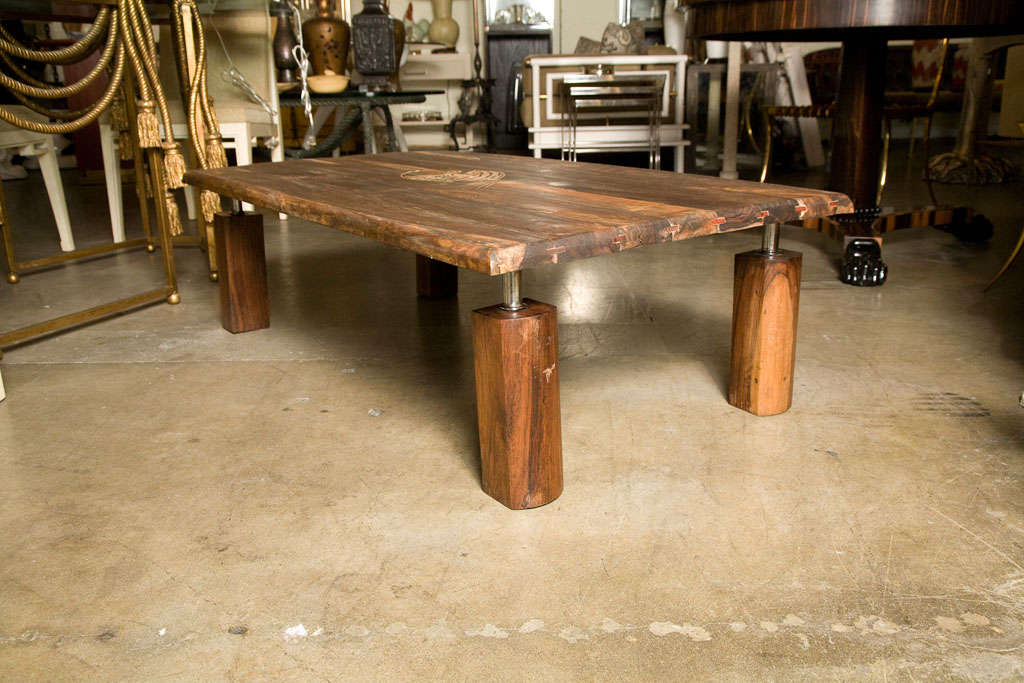 Mid-Century Rustic Brazilian Rosewood Coffee Table with Incised Fish 5