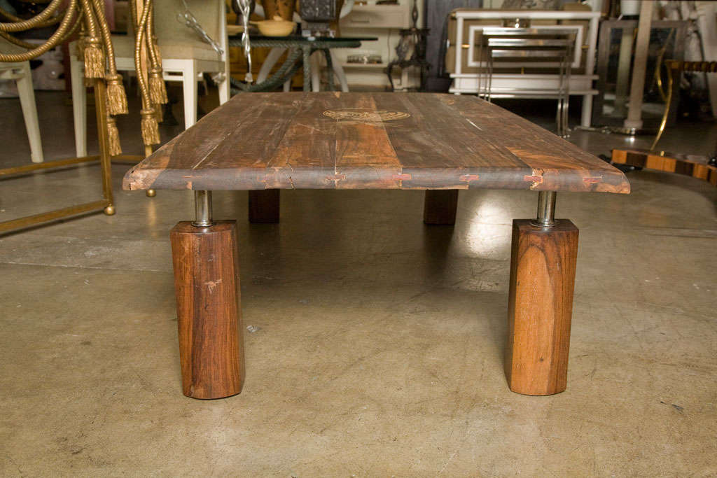 Mid-Century Rustic Brazilian Rosewood Coffee Table with Incised Fish 6
