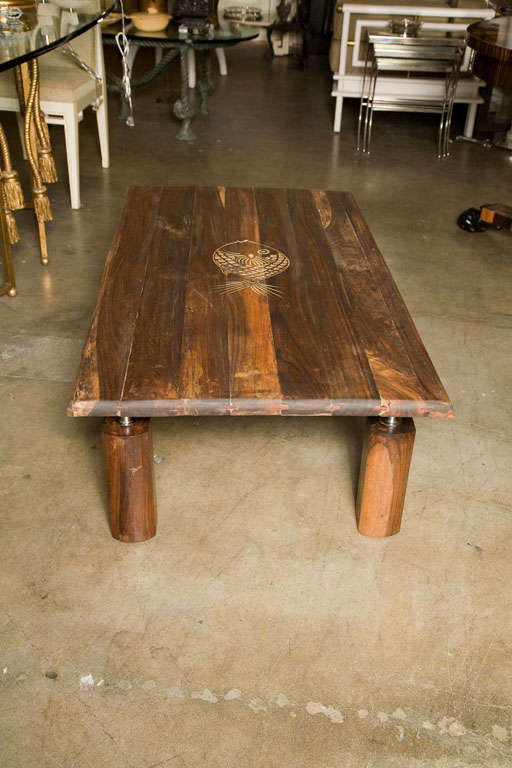 Mid-Century Rustic Brazilian Rosewood Coffee Table with Incised Fish 7