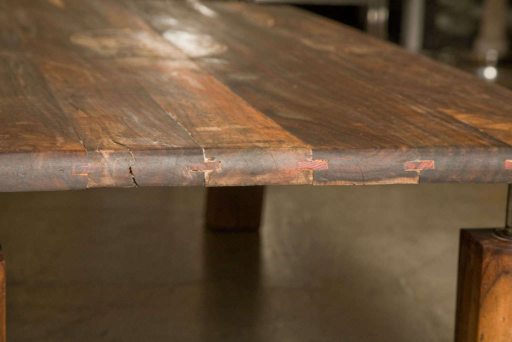 Mid-Century Rustic Brazilian Rosewood Coffee Table with Incised Fish 9