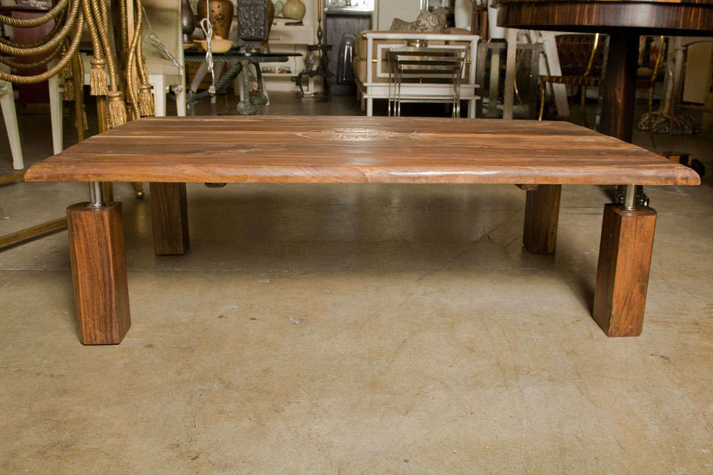 Mid-Century Rustic Brazilian Rosewood Coffee Table with Incised Fish 10