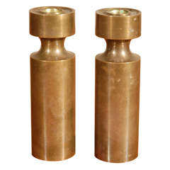 Pair Solid Bronze Machined Candlesticks