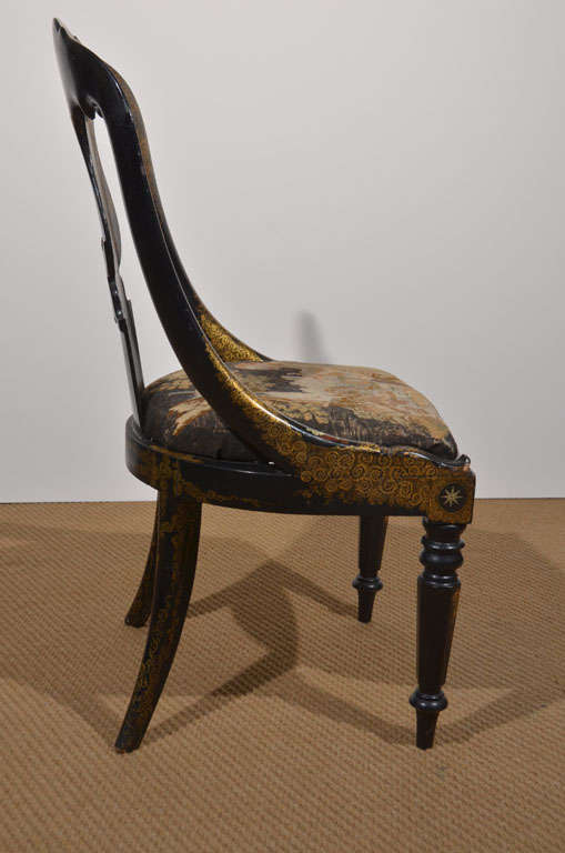 Black Lacquer and Gilt Papier Mache Chair 8