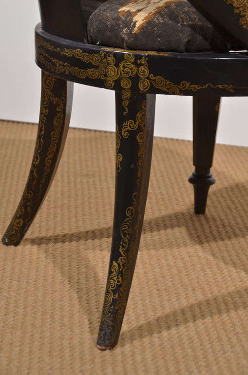 Black Lacquer and Gilt Papier Mache Chair 10