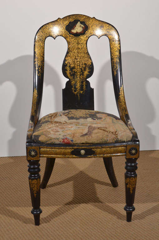 Black Lacquer and Gilt Papier Mache Chair 2