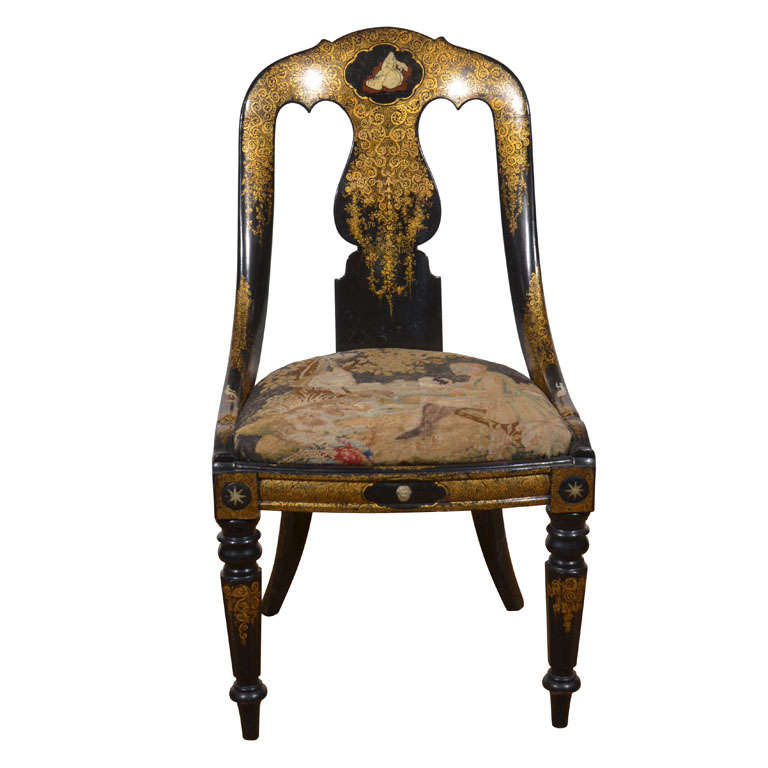 Black Lacquer and Gilt Papier Mache Chair 1