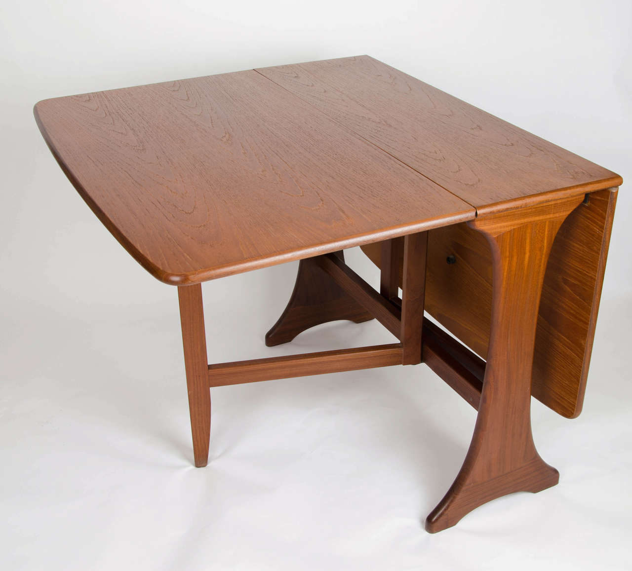 plan dining table drop leaf solid teak makers label circa