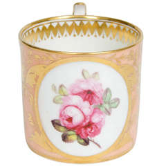 Exquisite, Georgian, DERBY Coffee Can, Roses by John Stanesby, ca. 1810