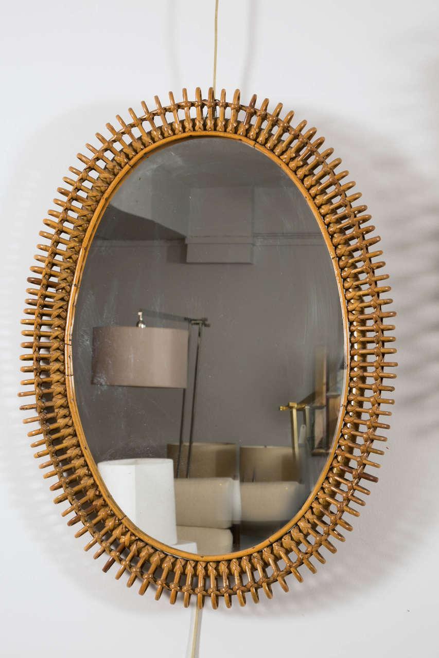 Wicker framed mirror