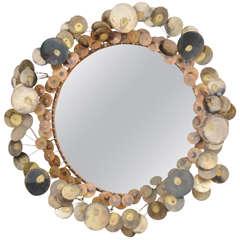 Curtis Jere Brass Raindrops Wall Mirror, USA, 1960s