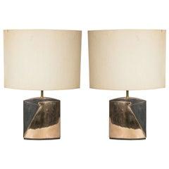 Pair of Bronze Lamps by Esa Fedrigolli