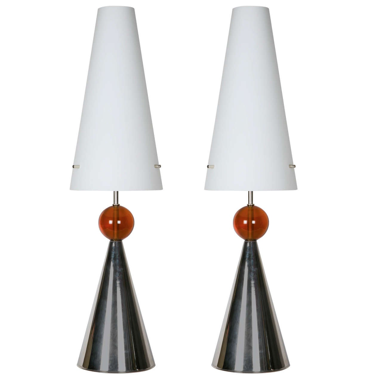 Pair of Lamps with Opaline Shade