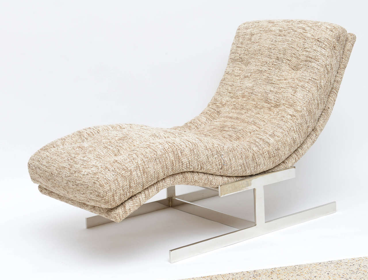 Milo baughman wave chaise longue upholstered in raw silk for Chaise longue wave